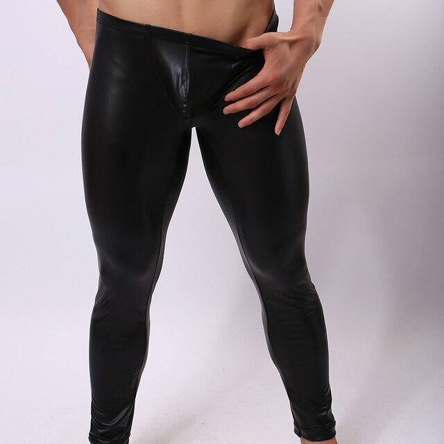 c5d9e6f7da 2017 moda marca cuero negro falso hombres Sexy ajustado compresión apretado  pantalones Gay novedad Fitness Leggings