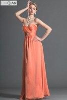 Frete Grátis Brilhante Strapless Slim A Linha do Assoalho-comprimento Chiffon de Laranja Vestido Da Dama de honra