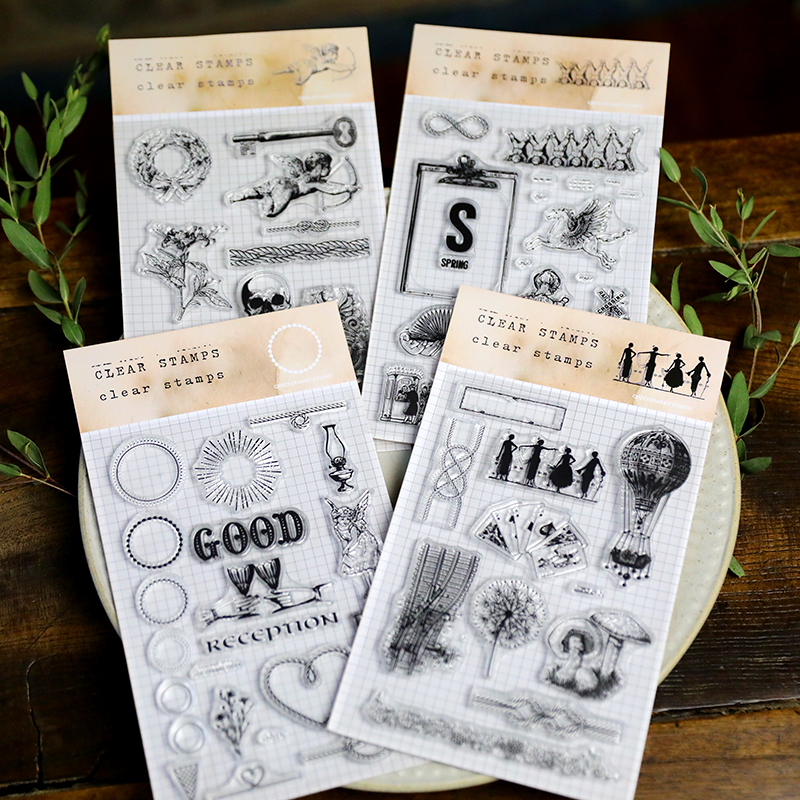 Vintage Series Plant Skull Angel Flower Mushroom Retro Transparent Clear Silicone Stamp/Seal DIY Scrapbooking Card Making Album