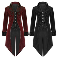 Retro Men Suits Vintage Men Cloth ancient royal togae swallow tailed coat medieval formal wear Suit Jacket Middle Ages Gothic