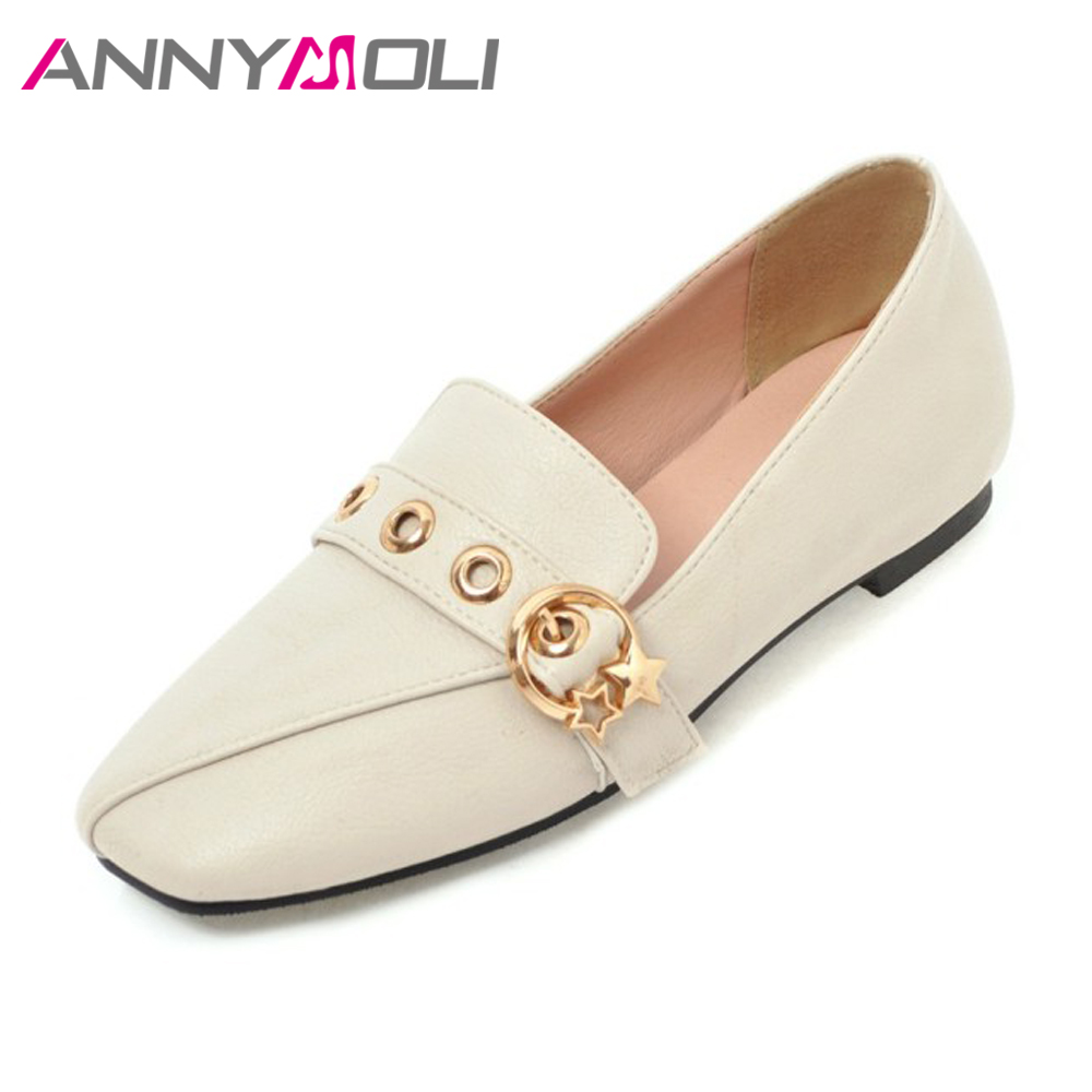 ANNYMOLI 2018 Shoes Women Flats Slip On Loafers Casual Shoes Spring Square Toe Stars Shoes Female Footwear Beige zapatos mujer 2017 women leather shoes fashion women s flats casual comfortable loafers soft women shoes female footwear zapatos mujer sft432