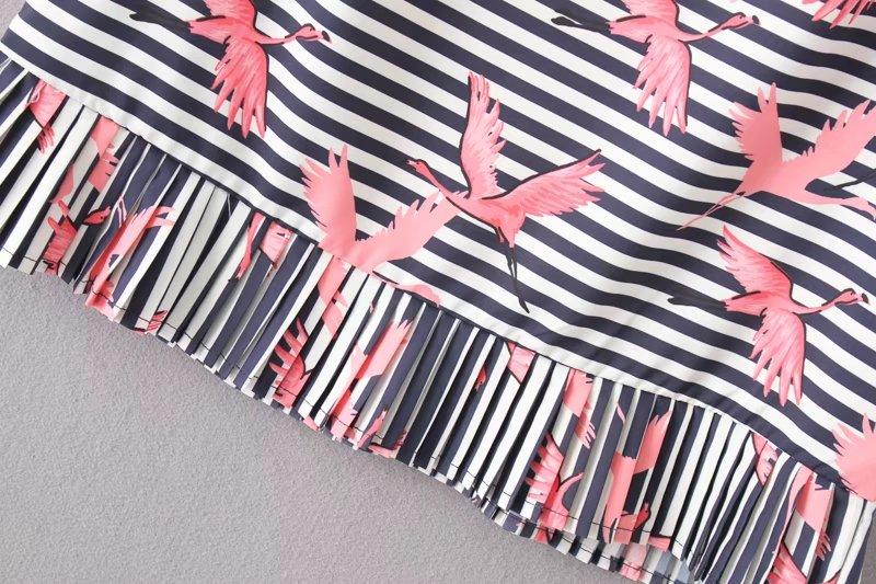 HTB1iP4LRVXXXXaiapXXq6xXFXXXo - Women vintage vestidos striped crane printed pleated blouses shirt