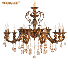 Retro Classic Chandelier Lighting Fixture Antique Brass Pendant Vintage Copper Crystal Lamp Lustre Cristal Lighting Lampadario недорого