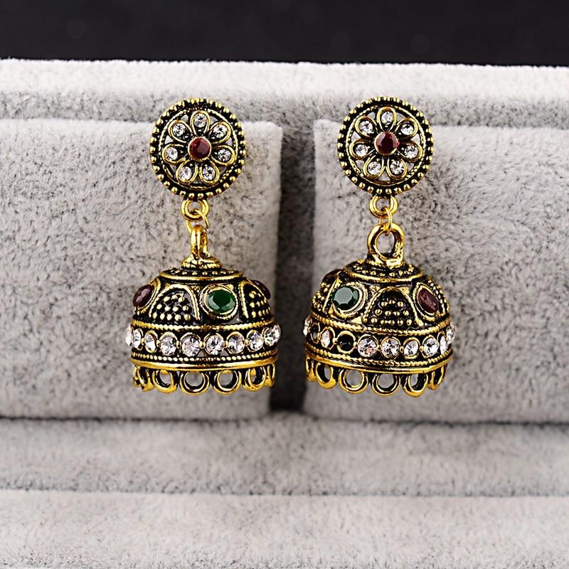 DOUVEI Classical Style Gold Color Bohemian Earrings Women Boho Red&Green Vintage Hollow Ethnic Earrings Turkish Tribal HXE076 4