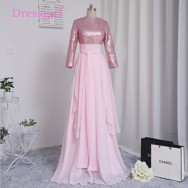 Dressgirl Pink Muslim Evening Dresses 2017 A-line Long Sleeves Chiffon Sequins Elegant Long Evening Gown Prom Dress Prom Gown