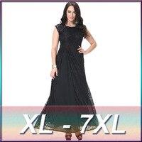 Pluse Size Lady Dress Vestidos 3XL 4XL 5XL 6XL Women Sexy Sleeveless O Neck Lace Suit