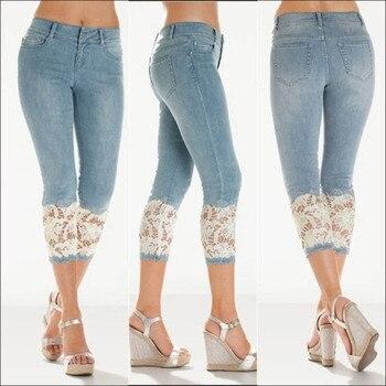 Plus Size 2019 Women Light Blue Denim Crochet Lace Skinny Legs Stretch Pencil Lace Jeans Short