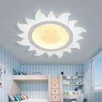 Простой ультра светодио дный тонкий светодиодный потолочный светильник детская спальня лампа солнце улыбающаяся девушка комната лампы кр