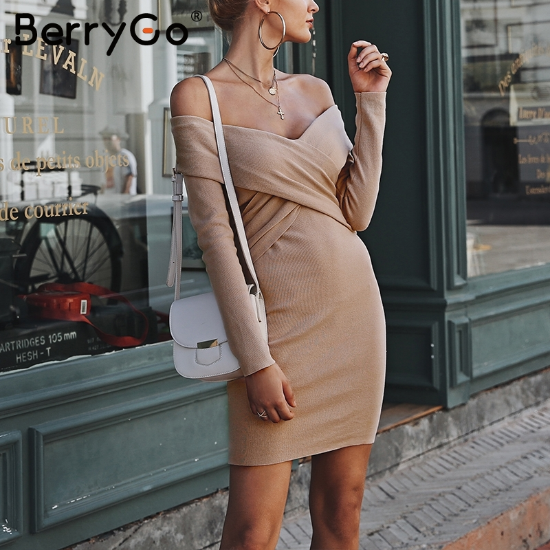 a2e19c86ca9 BerryGo Off shoulder knitted sweater dress 2018 Sexy v neck cross bodycon  short dress Women elegant autumn winter dress female