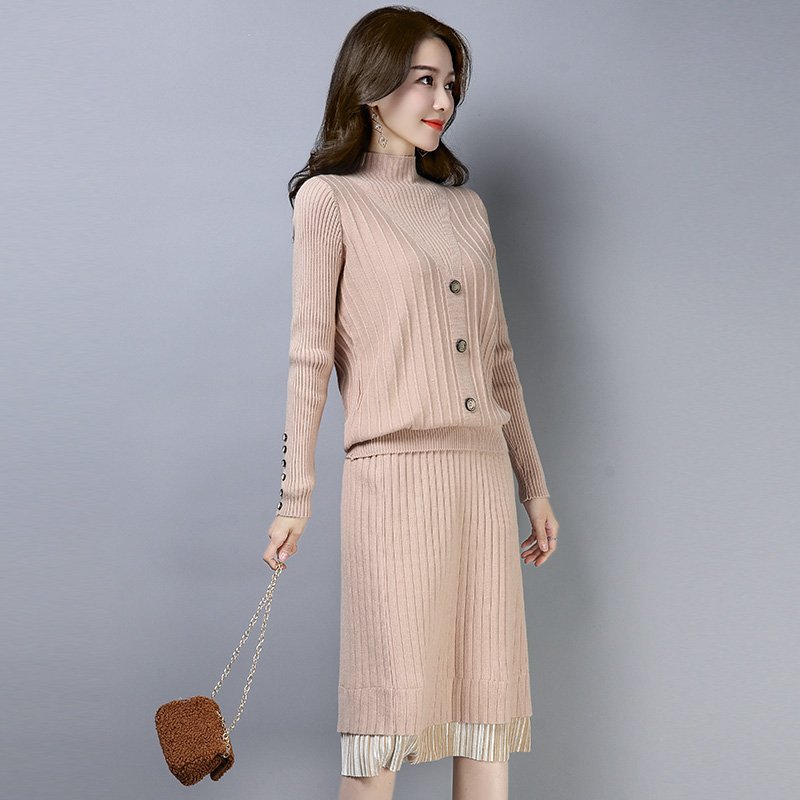 2XL 4 Colors Brand Set Fall Winter Women's Set New OL Commuter Knit Suit Loose Sweater with Button+Hem Lace Skirt 2 Piece Set