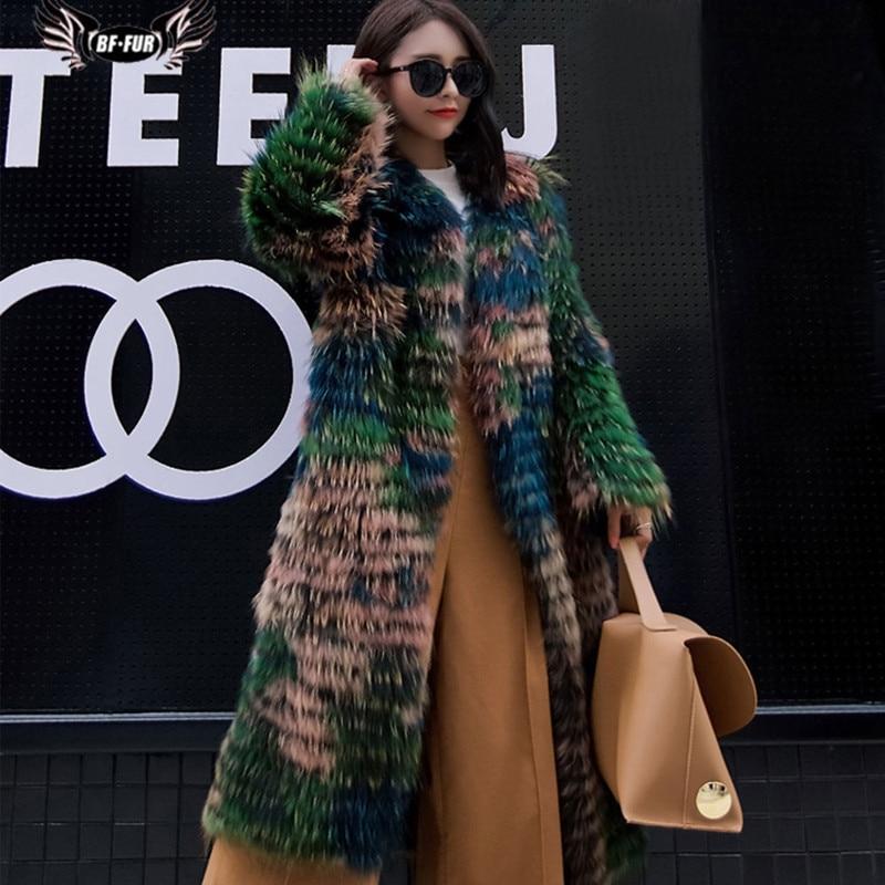 BFFUR натуральным мехом пальто 100% натуральный мех енота модные роскошные длинные Стиль мех енота пальто зима Для женщин женские шуба Длинные