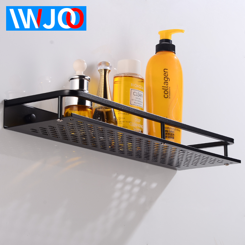 Bathroom Shelf Black Aluminum Single Bathroom Shelves Shower Storage Rack Wall Mounted Decorative Corner Basket Shampoo Shelf