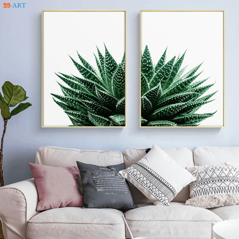Succulent Cactus Posters And Prints Tropical Wall Art Minimalist Canvas Painting Wall Picture Kitchen Dining Room Decorative