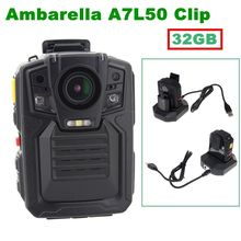 Free shipping! HD 1296P Police Body Camera IR Night Vision 6-hour Record Built-in 32GB 140  Degrees Lens