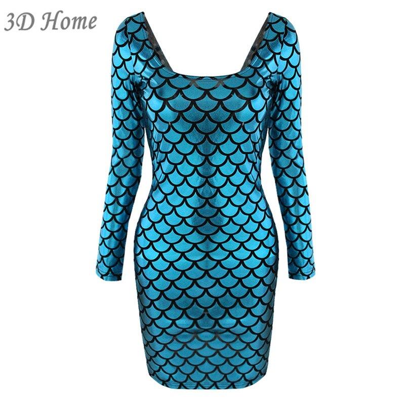 Impresión Mujeres Escamas Elegante Vestido Vaina 3d De Pescado mN8wOnv0