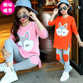 2017 child spring set teenage girls child sports children's clothing cartoon kids clothes twinset girls sweater