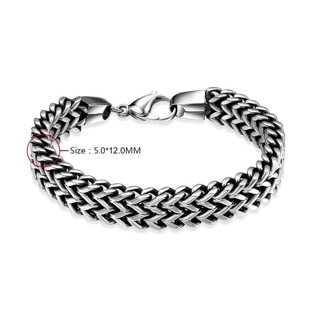 Stainless Steel Titanium Silver Punk Chains Men Bangle Bracelet