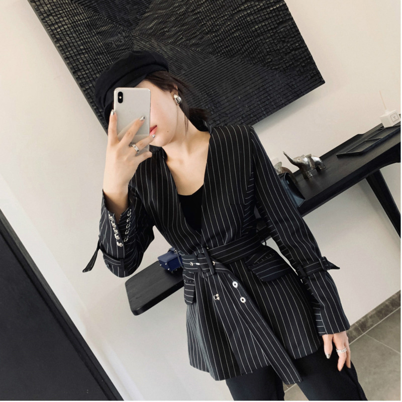 [EWQ] 2019 Spring New Pattern V-collar Long Sleeve Striped Patchwork Adjustable Waist High Street Coat Women AE90801L
