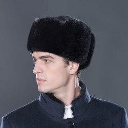 LTGFUR Bomber, мужские шапки, теплая шапка из меха норки, шапка-ушанка, шапка-ушанка Авиатор, зимняя шапка с ушками, русская шапка для мужчин, NZD-01