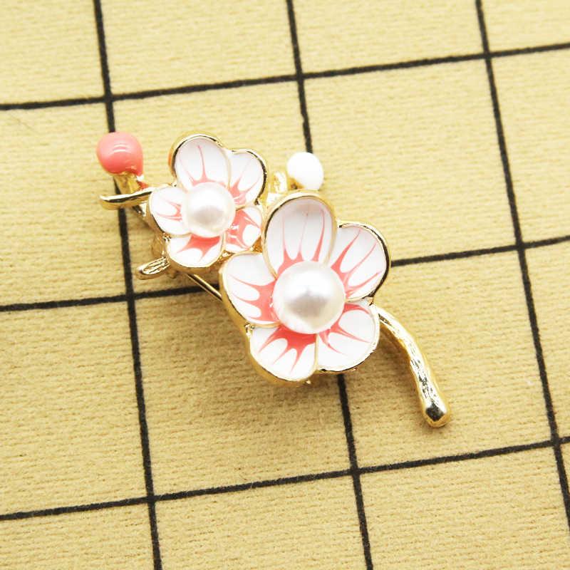 Rhao Romantis Kuning Bunga Bros Pink Enamel Beberapa Bunga Pin Wanita Wanita Perhiasan Gaun Gesper Jilbab Pin Syal Klip