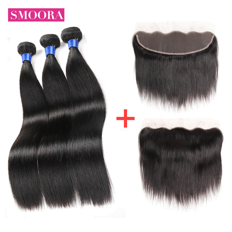 Brazilian Straight Human Hair Bundles With Lace Frontal 13x 4 inch Ear To Ear Lace Frontal