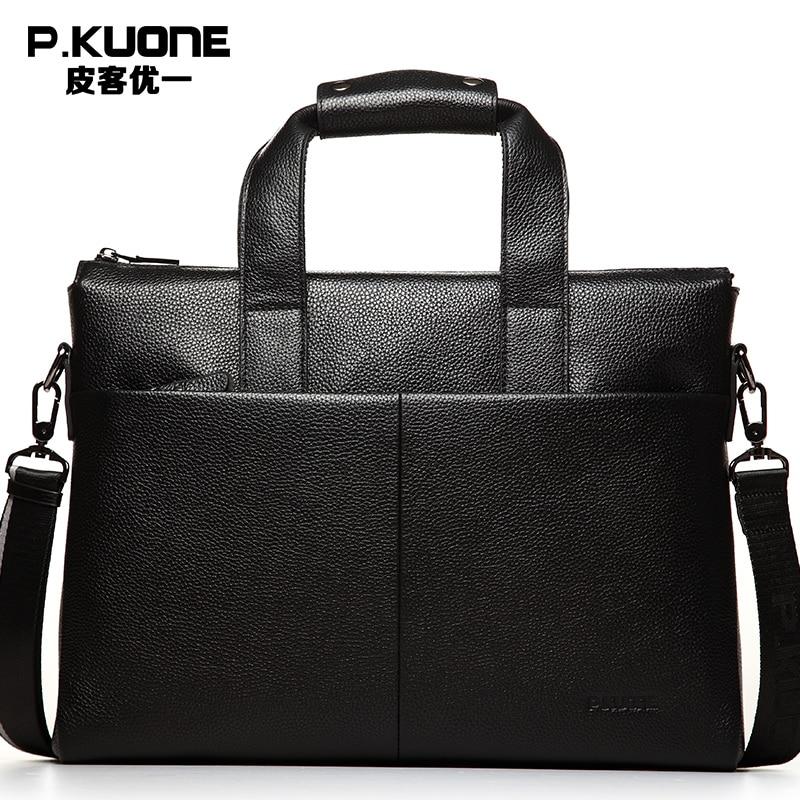Aktentaschen Diplomatisch Echtes Leder Messenger Bags Business Stil Handtasche Aktentasche Laptop Taschen Männer Reise Rindsleder Schulter Tasche P630551