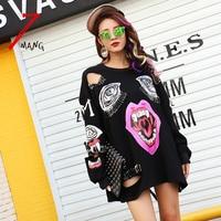 2016 New Autumn Women Fashion Punk Black Cartoon Mouth Printing Hole Sweatshirts O Neck Long Sleeve