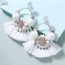 Badu White Flower Tassel Earring for Women Baroque Fashion Jewelry Big Ethnic Dangle Earrings Wholesale Drop Shipping