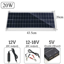 20W Solar Panel Solar Powered Cells 2-port USB 5V Portable Solar Charger for Outdoor Camping Emergency Light Waterproof цена и фото
