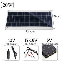 20W Solar Panel Solar Powered Cells 2 port USB 5V Portable Solar Charger for Outdoor Camping Emergency Light Waterproof