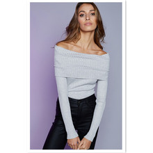 Spring popular new fashion personality temperament strapless cuffs sexy solid color long-sleeved womens sweater