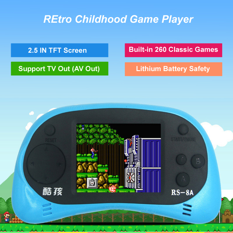 New 2.5 Inch 8 Bit Handheld Game Player For NES Games Built-in 260 Classic Games Support TV Putout Video Game Console Kids Gif