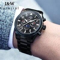 I&W Pilot Watch Men Carnival Mens Automatic Mechanical Watches Stainless Steel Waterproof Moon Phase Wristwatch erkek kol saati