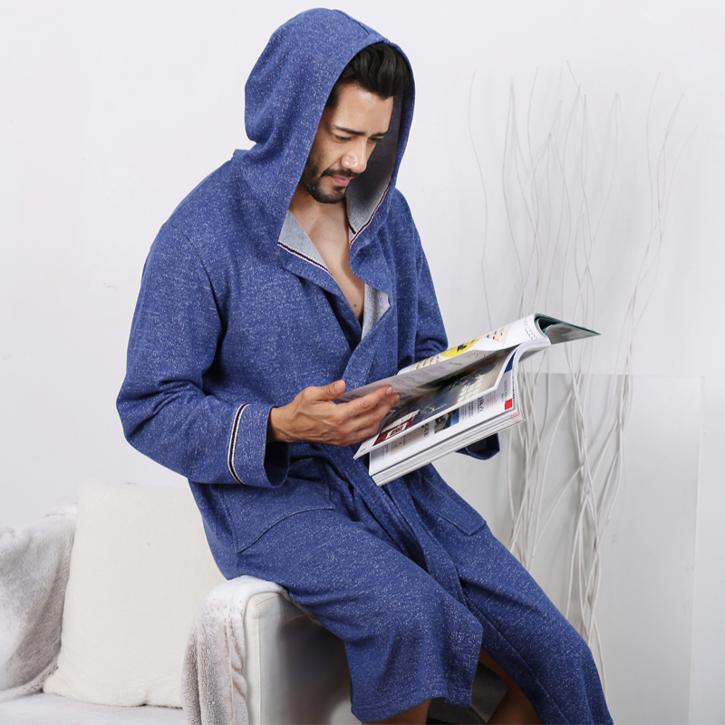 Mens Blue Robes 2018 New Knit Home Hooded Robe With Spring Autumn Cotton Health Fabrics  ...