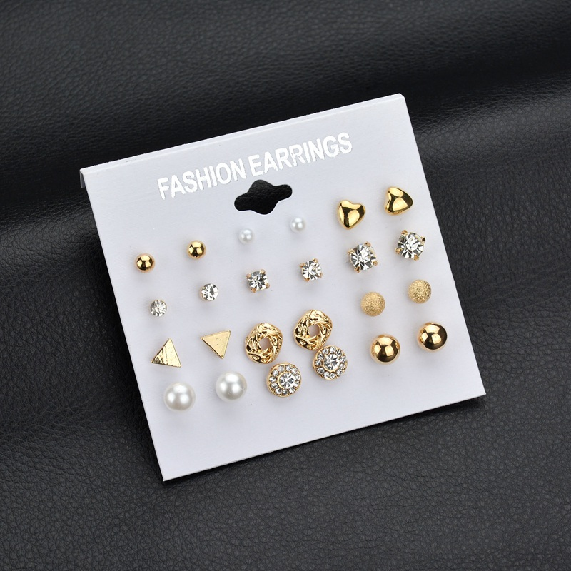 MissCyCy Fashion 12 pair/set Women Square Crystal Heart Stud Earrings for Women Piercing Simulated Pearl Flower Earrings pair of stylish rhinestone palm leaf stud earrings for women