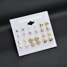 MissCyCy Fashion 12 pair/set Women Square Crystal Heart Stud Earrings for Women Piercing Simulated Pearl Flower Earrings(China)