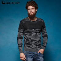 GLO STORY Men's Fashion Men's Pullover Camouflage Patchwork Long SLeeve Pullover Sweater For Men High Street MMY 6865