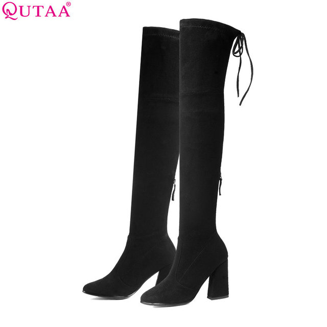 QUTAA 2019 nuevo llegan mujeres por encima de la rodilla botas altas zapatos de invierno zapatos plataforma casco tacones mujeres Sexy botas de motocicleta tamaño 34-43