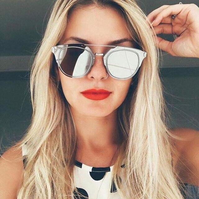 2a94fc546cde JUSTRUE Fashion Flat Mirrored Sunglasses Brand Design Celebrities Sun  Glasses Metal Frame Trends Shades for Women Men