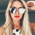Prata Espelhado Óculos De Sol Das Mulheres e Dos Homens Clássico COMPOSIT JUSTRUE lentes Armação de Metal Plana Celebridade Óculos Feminino óculos de Sol