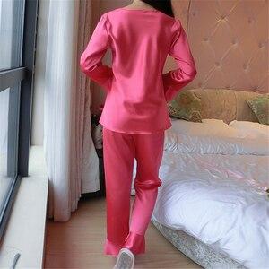 Image 4 - Женская шелковая пижама с длинным рукавом, шелковая пижама для отдыха, большие размеры, все сезоны
