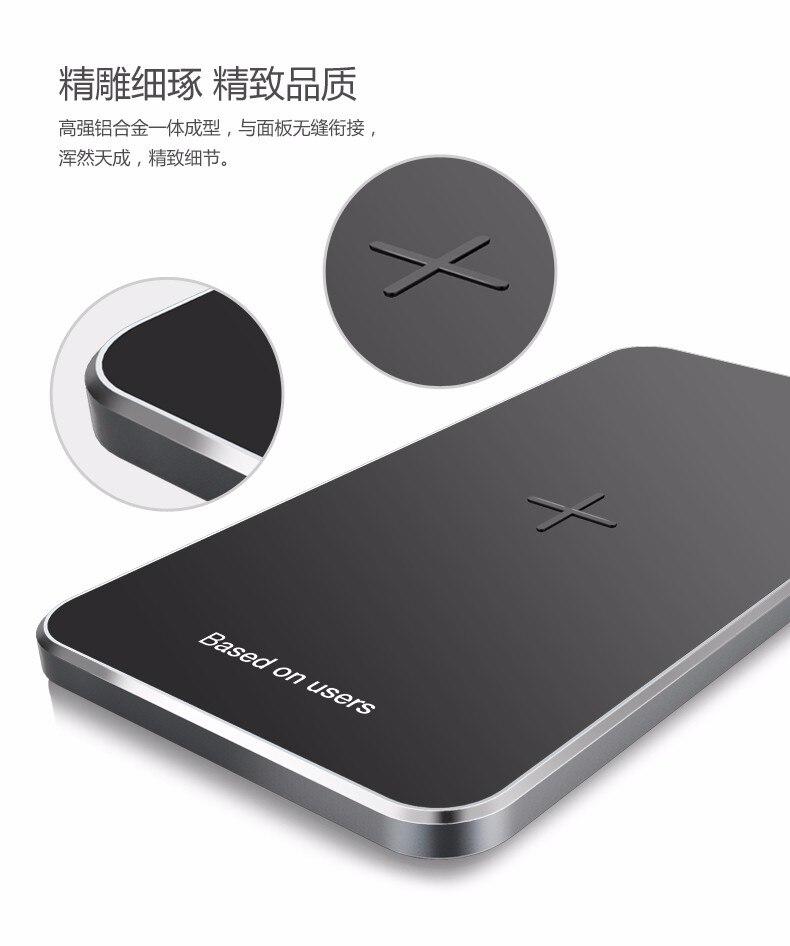 Baseus צ 'י מטען אלחוטי טעינה מהירה סליל כרית עבור סמסונג s6 s7 קצה נקסוס 6 5 4 HTC E9 8X LG צ' י מטען לטלפון אלחוטי