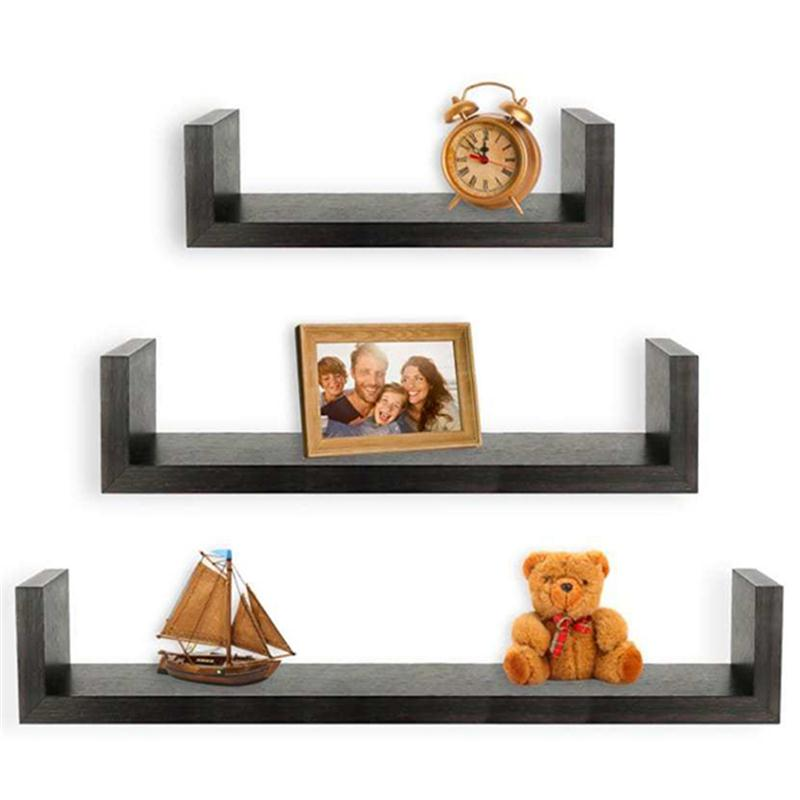 3PCS New Arrival Fashion U Shaped Wooden Partition Shelves Home Living Room Decoration 2017