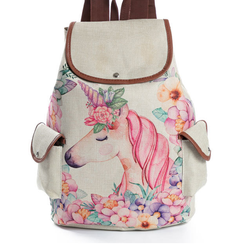 f72ff88d76bc Unicorn School Backpack Cute Mochila Feminina Fashion Drawstring Bagpack  Kawaii Printing Rucksack Schoolbag Backpack For Girls