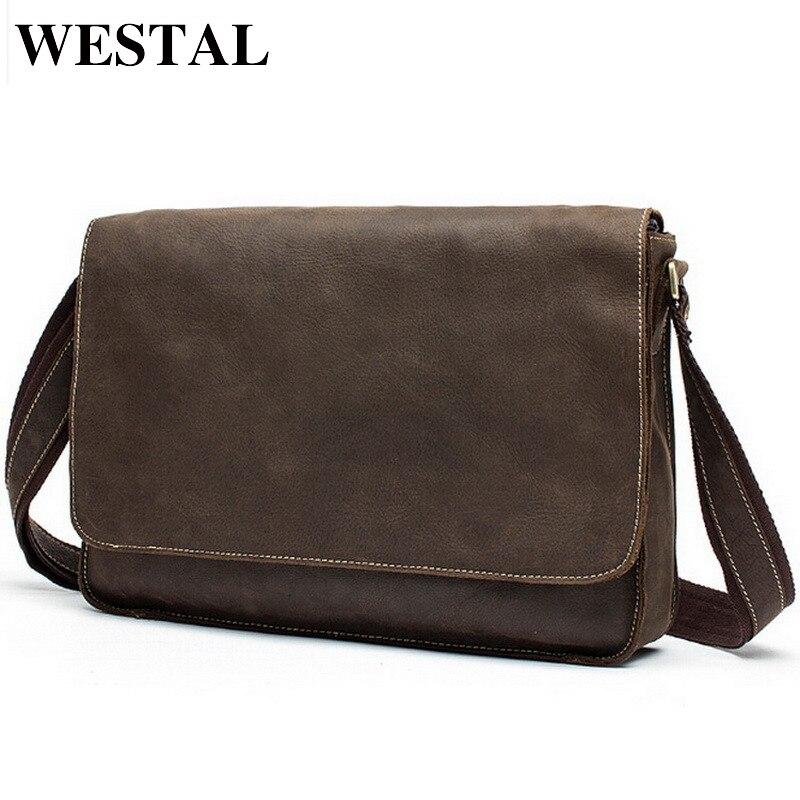 WESTAL Man bag crazy horse leather shoulder Bag vintage genuine cowhide leather men messenger bags business