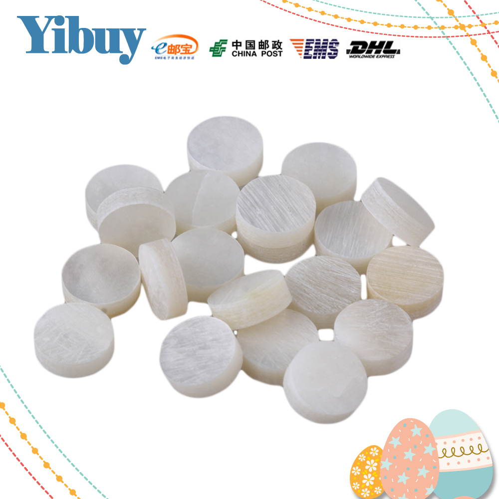 Yibuy 6mm White Mother of Pearl Shell Fingerboard Dots with Inlay Material For Guitar Pack of