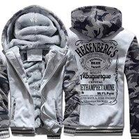Men Winter Fleece Thick Sweatshirts Hot Sale New Hoodies Harajuku Zipped Hoody Breaking Bad Heisenberg Men's Streetwear hoody