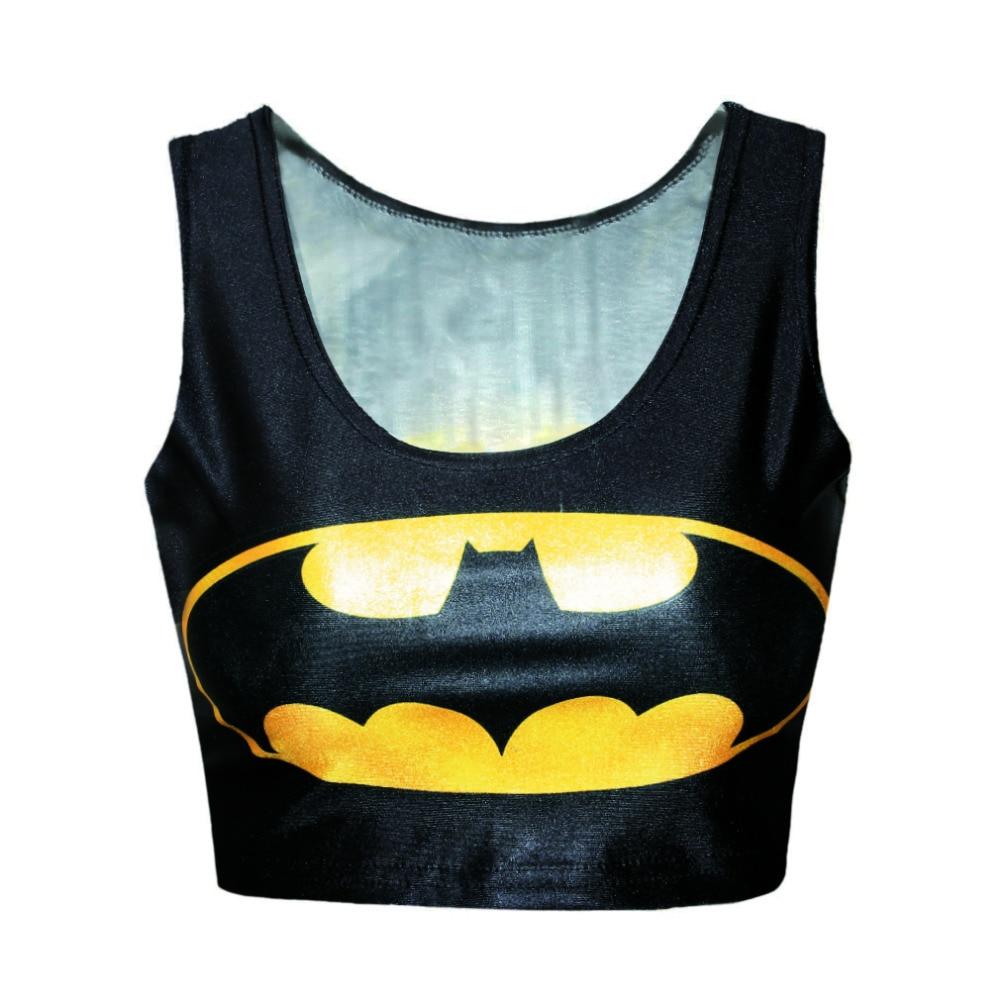 60e5a90f09dd5d B038 new 2015 Skinny O-Neck Crop Top Summer Vest women Sleeveless Casual  Batman Print