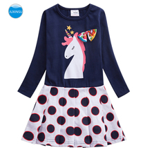 JUXINSU Girl Cotton Unicorn Cartoon Bow Wave Point Long Sleeve Dress Pony Girls Autumn Winter Casual Dresses for 3-8 Years