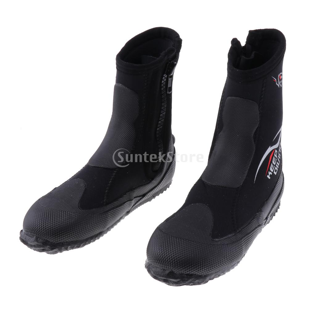 5mm Super Stretch Zippered Hard Sole High Upper Scuba Dive Water Sports Surfing Snorkeling Booties Wetsuit Boots Black, XS -3XL
